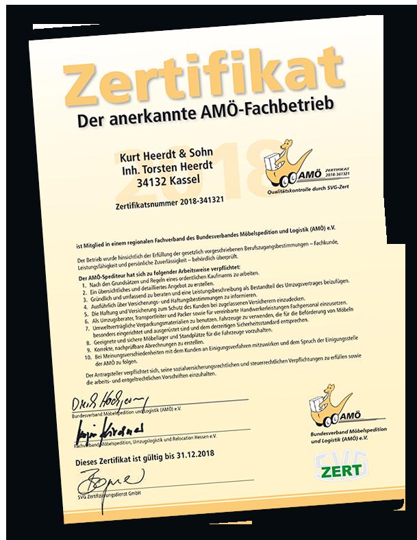 Zertifikat ausgestellt vom AMÖ für Qualitätskontrolle