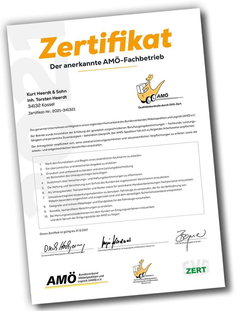 Verbands-Zertifikat AMÖ